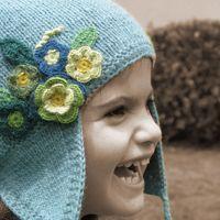 Alpaca Chulu gorro para niña con flores
